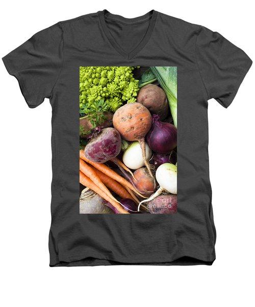 Mixed Veg Men's V-Neck T-Shirt by Anne Gilbert