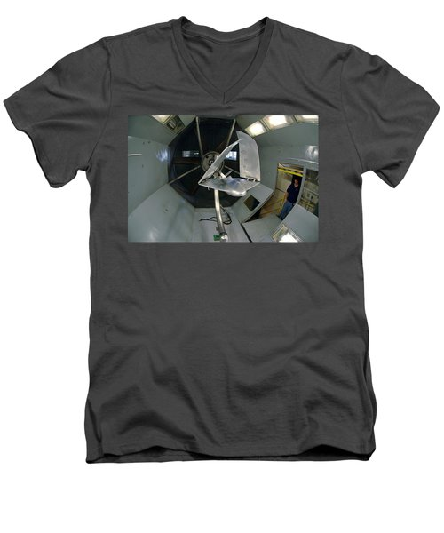 Men's V-Neck T-Shirt featuring the photograph Model Airplane In Wind Tunnel by Science Source