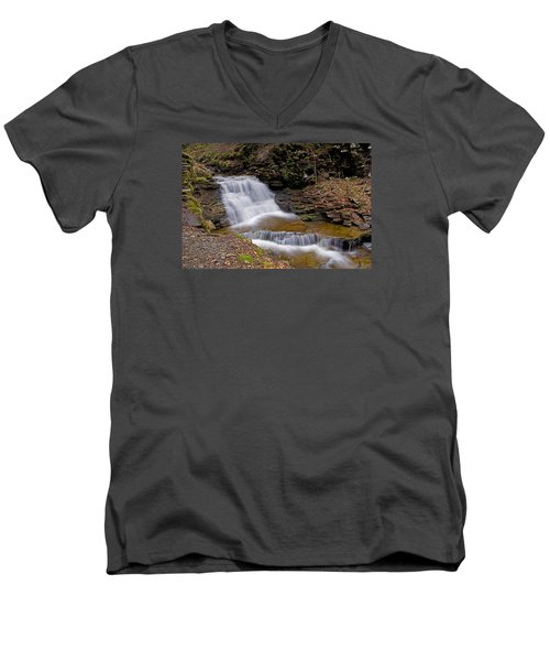 Mohican Falls In Spring Men's V-Neck T-Shirt by Shelly Gunderson