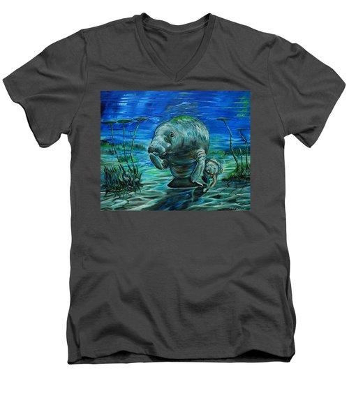Momma Manatee Men's V-Neck T-Shirt by Steve Ozment