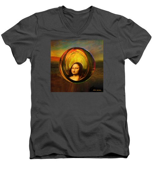 Men's V-Neck T-Shirt featuring the painting Mona Lisa Circondata by Robin Moline