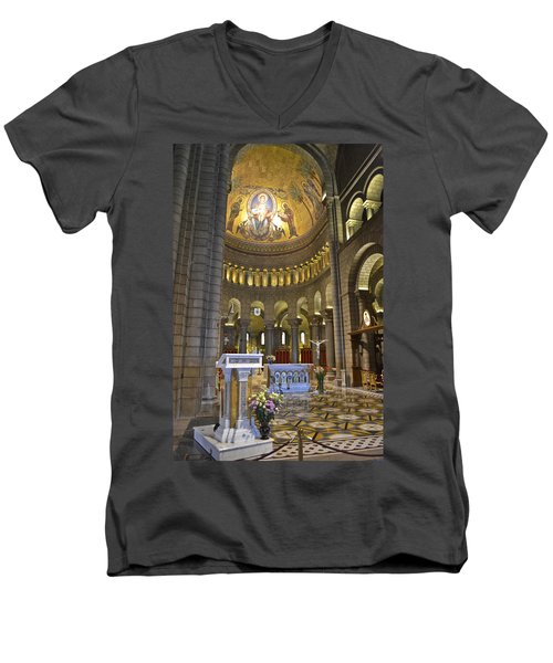 Men's V-Neck T-Shirt featuring the photograph Monaco Cathedral by Allen Sheffield