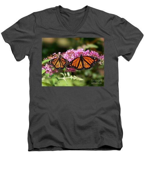 Monarch Butterflies Men's V-Neck T-Shirt by Liz Masoner