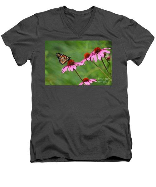 Monarch On Garden Coneflowers Men's V-Neck T-Shirt