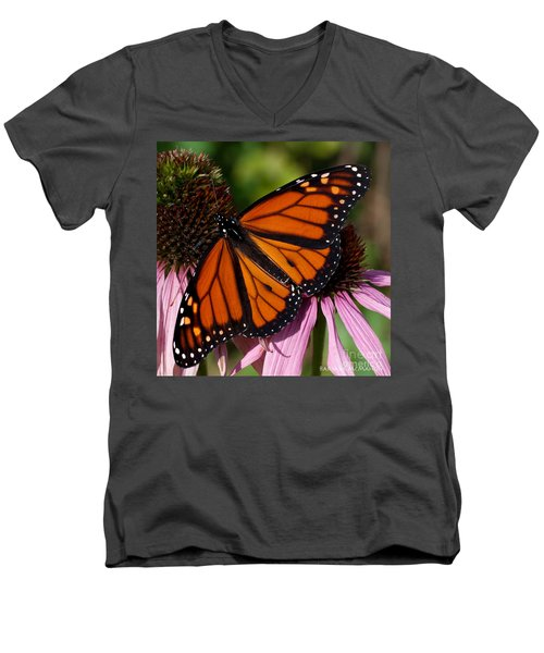 Men's V-Neck T-Shirt featuring the photograph Monarch On Purple Coneflower by Barbara McMahon