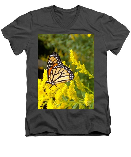 Men's V-Neck T-Shirt featuring the photograph Monarch by Sara  Raber