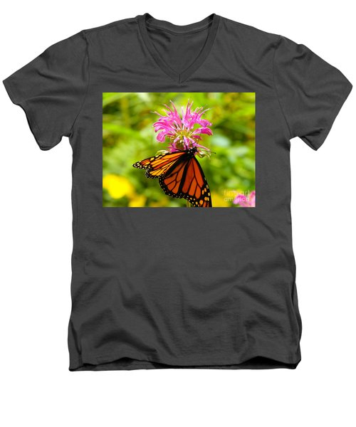 Monarch Under Flower Men's V-Neck T-Shirt