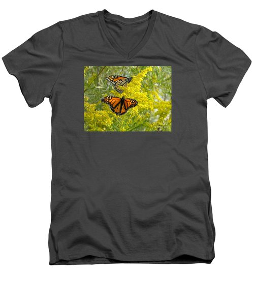 Men's V-Neck T-Shirt featuring the photograph Monarchs On Goldenrod by Susan  Dimitrakopoulos