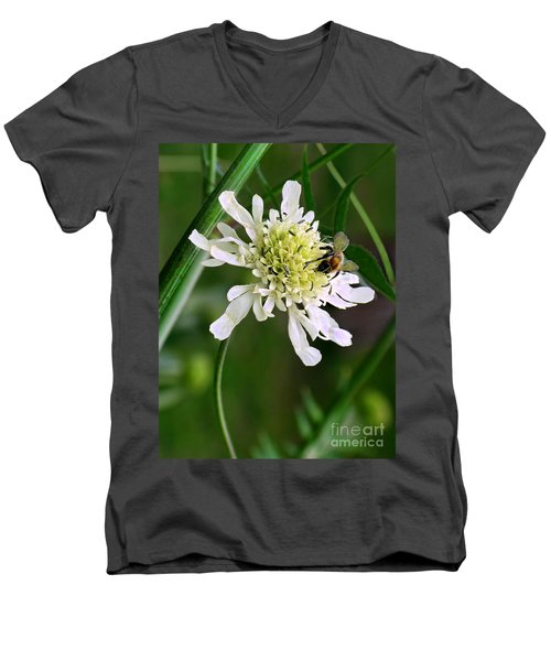 Men's V-Neck T-Shirt featuring the photograph Monet's Garden Bee. Giverny by Jennie Breeze