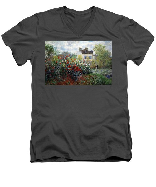 Men's V-Neck T-Shirt featuring the photograph Monet's The Artist's Garden In Argenteuil  -- A Corner Of The Garden With Dahlias by Cora Wandel
