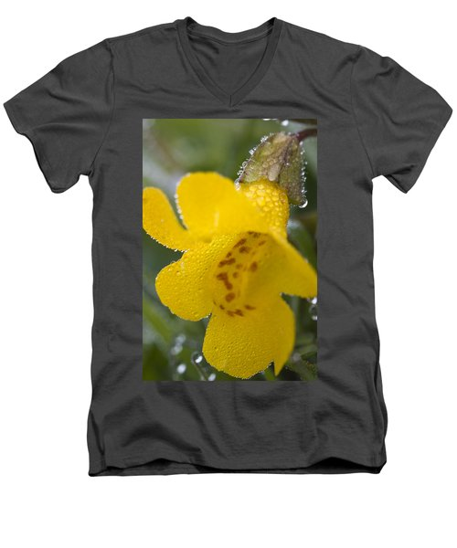 Men's V-Neck T-Shirt featuring the photograph Monkey In Yellow by Sonya Lang