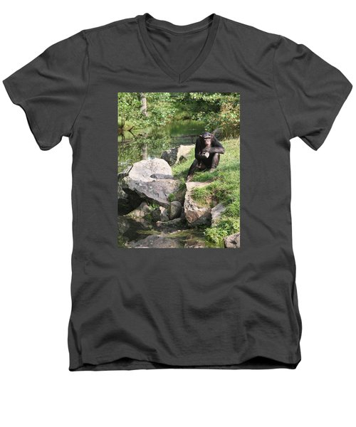 Men's V-Neck T-Shirt featuring the photograph Monkey Thoughts by Dreamland Media