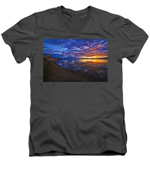 Mono Lake Sunrise Men's V-Neck T-Shirt by Priscilla Burgers