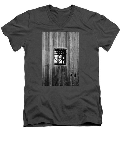 Men's V-Neck T-Shirt featuring the photograph Monroe Co. Michigan Barn Window by Daniel Thompson