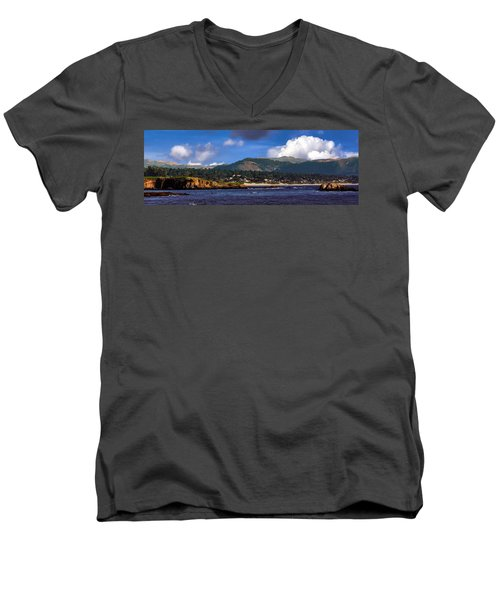 Monterey Bay California Men's V-Neck T-Shirt by Lynn Bolt