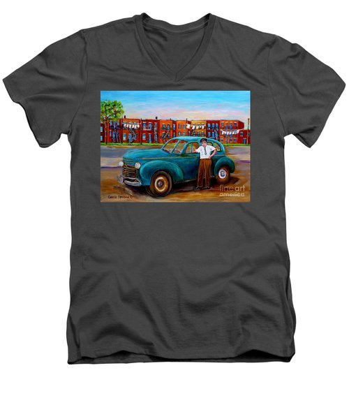 Montreal Taxi Driver 1940 Cab Vintage Car Montreal Memories Row Houses City Scenes Carole Spandau Men's V-Neck T-Shirt