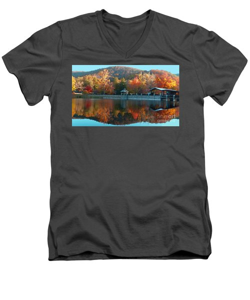 Montreat Autumn Men's V-Neck T-Shirt by Lydia Holly