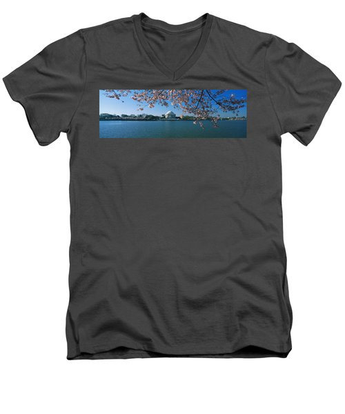 Monument At The Waterfront, Jefferson Men's V-Neck T-Shirt by Panoramic Images