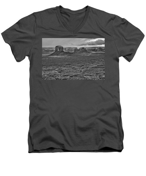 Men's V-Neck T-Shirt featuring the photograph Monument Valley 4 Bw by Ron White