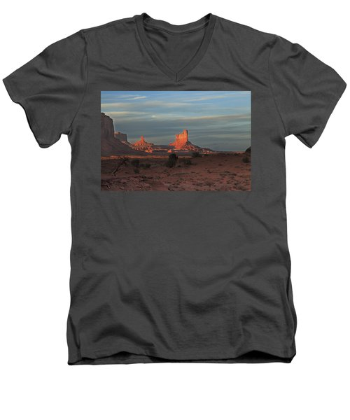 Men's V-Neck T-Shirt featuring the photograph Monument Valley Sunset by Alan Vance Ley