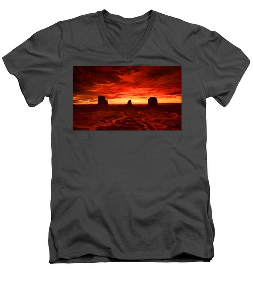 Men's V-Neck T-Shirt featuring the painting Monument Valley Sunset by Tim Gilliland
