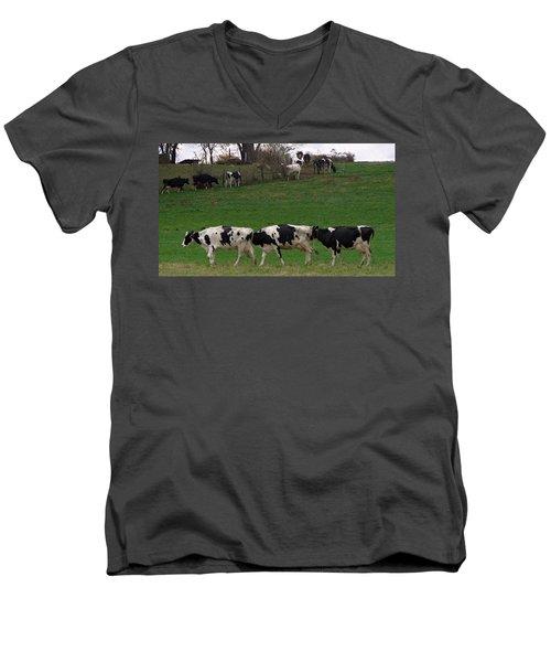 Moo Train Men's V-Neck T-Shirt