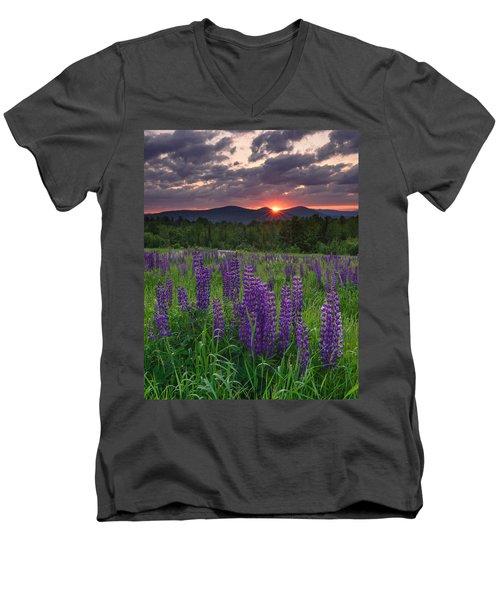 Moody Sunrise Over Lupine Field Men's V-Neck T-Shirt