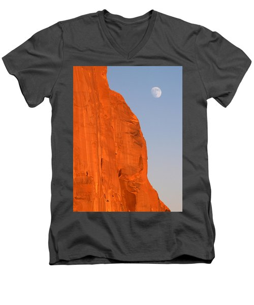 Moon At Monument Valley Men's V-Neck T-Shirt