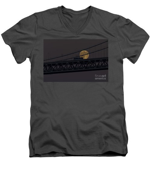 Men's V-Neck T-Shirt featuring the photograph Moon Bridge Bus by Kate Brown