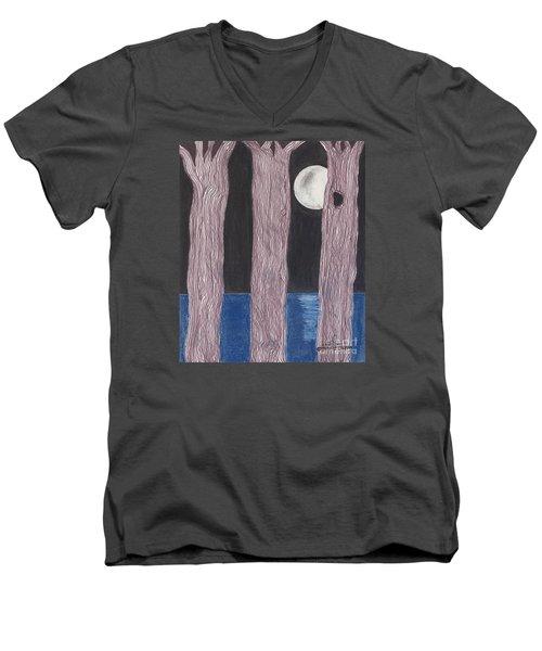 Men's V-Neck T-Shirt featuring the mixed media Moon Light by David Jackson
