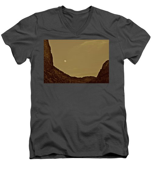 Moon Over Crag Utah Men's V-Neck T-Shirt