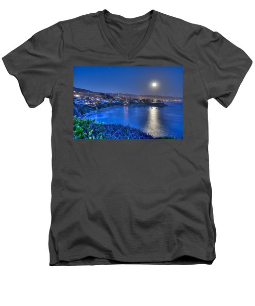 Moon Over Crescent Bay Beach Men's V-Neck T-Shirt
