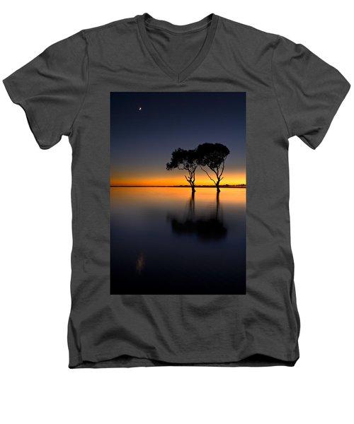 Moon Over Mangrove Trees Men's V-Neck T-Shirt