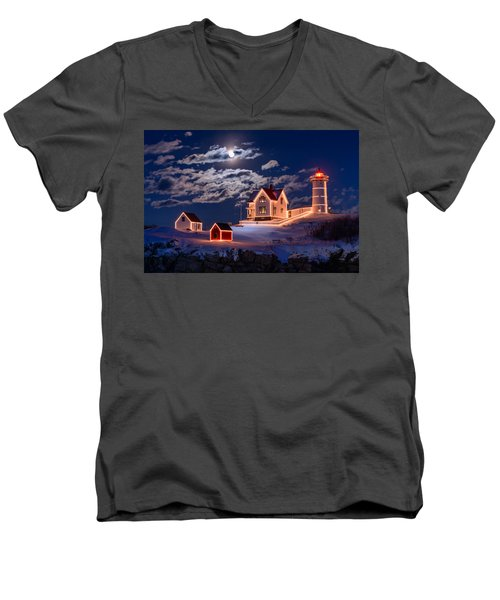 Moon Over Nubble Men's V-Neck T-Shirt