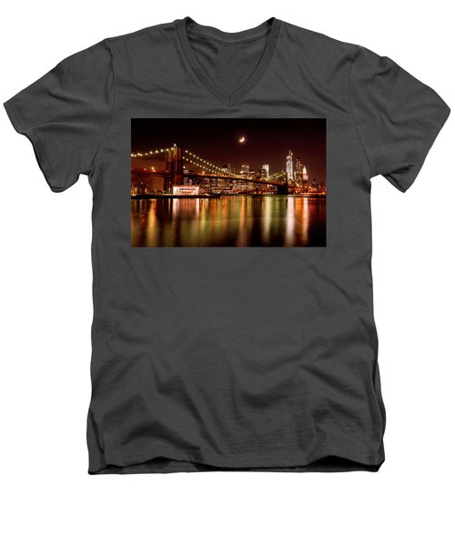 Moon Over The Brooklyn Bridge Men's V-Neck T-Shirt