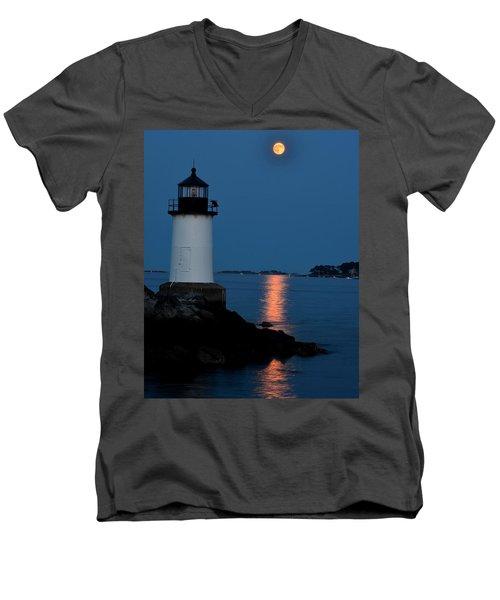 Moon Over Winter Island Salem Ma Men's V-Neck T-Shirt