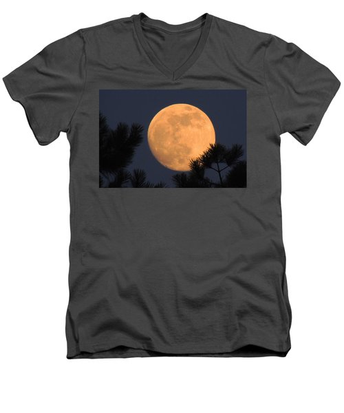 Men's V-Neck T-Shirt featuring the photograph Moon Pines by Charlotte Schafer