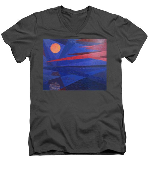 Men's V-Neck T-Shirt featuring the painting Moon Reflecting On A Lake by Walter Casaravilla