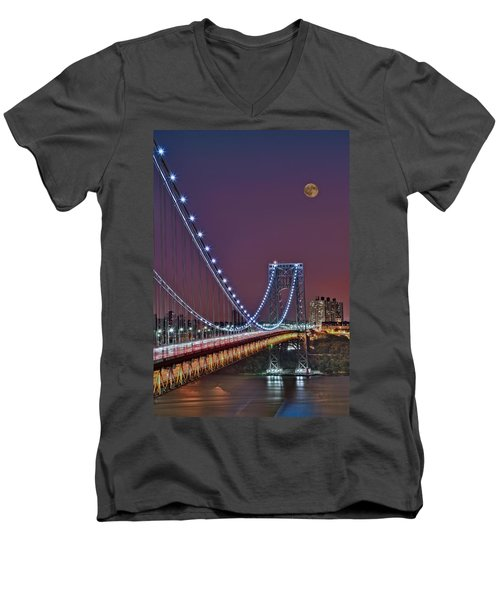 Moon Rise Over The George Washington Bridge Men's V-Neck T-Shirt by Susan Candelario