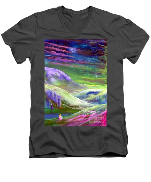 Men's V-Neck T-Shirt featuring the painting Moon Shadow by Jane Small
