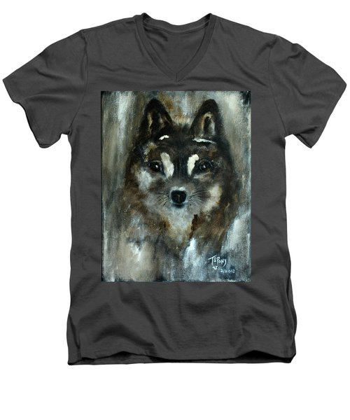 Men's V-Neck T-Shirt featuring the painting Moon Shadow The Baby Fox by Barbie Batson
