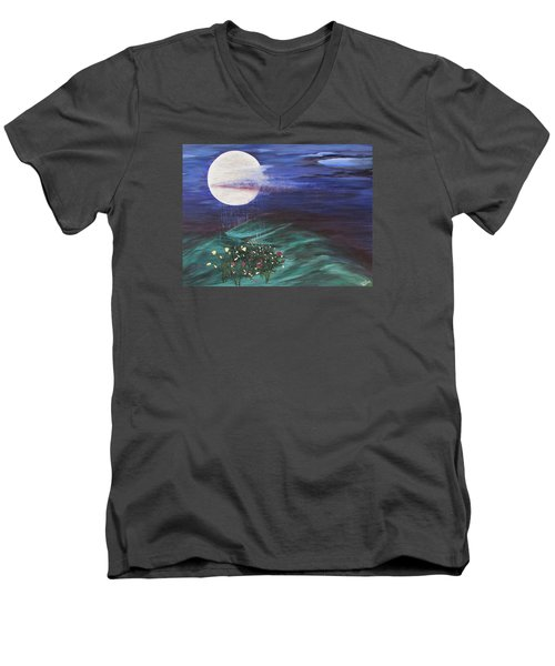 Men's V-Neck T-Shirt featuring the painting Moon Showers by Cheryl Bailey