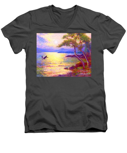 Men's V-Neck T-Shirt featuring the painting  Wild Goose, Moon Song by Jane Small