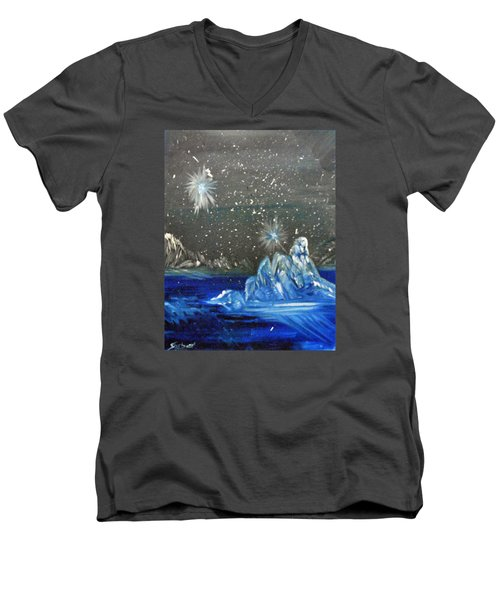 Moon With A Blue Dress Men's V-Neck T-Shirt