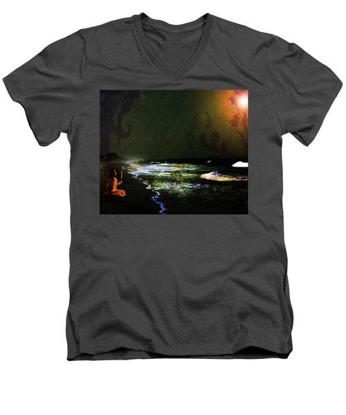 Moonlight Gives Girl Hope In The Darkness Men's V-Neck T-Shirt