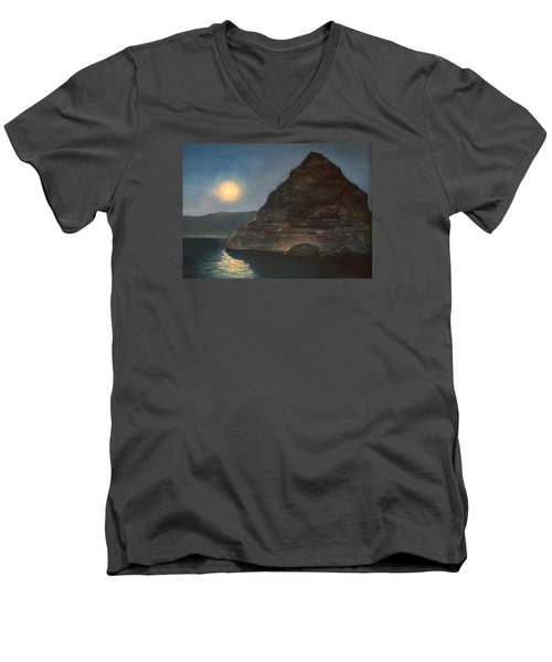 Men's V-Neck T-Shirt featuring the painting Moonlight On Pyramid Lake by Donna Tucker
