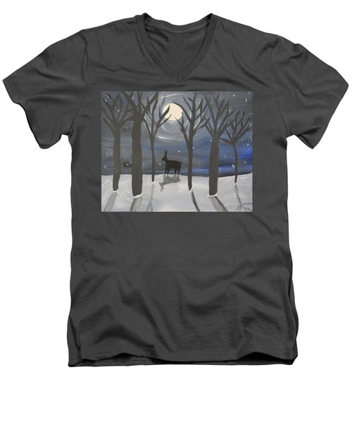 Moonlight On Snow Men's V-Neck T-Shirt