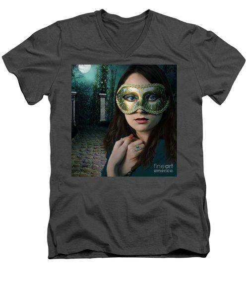 Moonlight Rendezvous Men's V-Neck T-Shirt