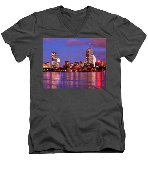 Men's V-Neck T-Shirt featuring the photograph Moonlit Boston On The Charles by Mitchell R Grosky