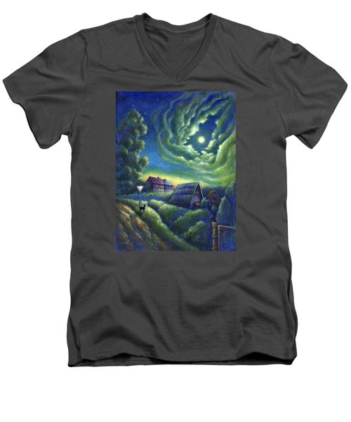 Moonlit Dreams Come True Men's V-Neck T-Shirt by Retta Stephenson